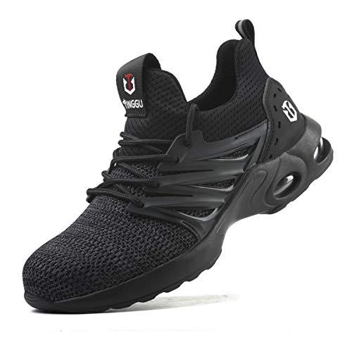 Zapatos de Seguridad Hombre Mujer Ligero Calzado Trabajo Zapatillas con Punta Acero Industriales Transpirable Seguridad Cómodas Antideslizante Anti Aplastamiento Black01 39