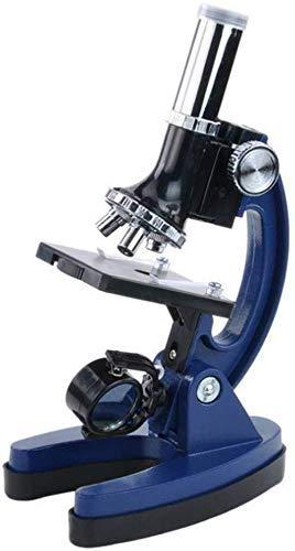 Jszzz Kinder Anfänger Mikroskop, Blau Biological Chemical Laboratory Wissenschaft Mikroskop Kinder Studenten Anfänger Mikroskop Kit mit Slides Metallgehäuse mit LED-Licht und Transportbox