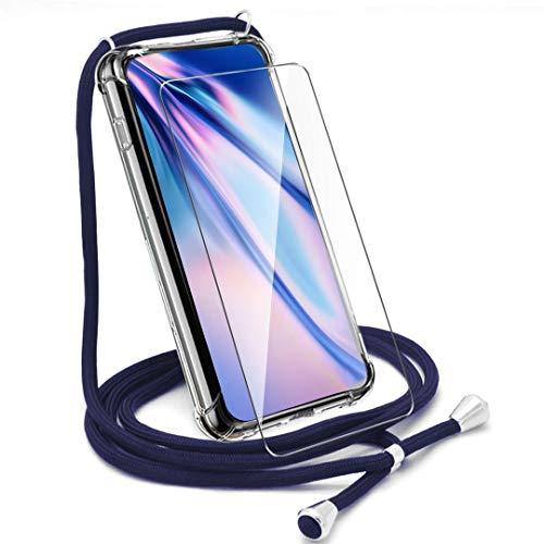 HYMY Funda + Cristal Templado para Huawei Nova 5T - Clear Tapa TPU con Correa Colgante [Refuerzo de Cuatro Esquinas, Absorción de Golpes] Caso Carcasa con Cordon para Llevar en el Cuello, Azul