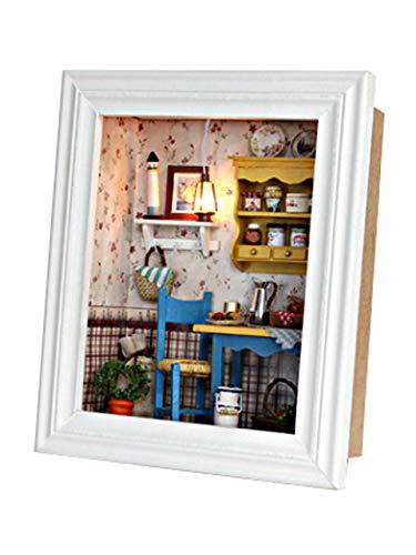[リトルスワロー] DIY ドールハウス ミニチュアハウス LEDライト付き 手作りキット 壁掛けできる 額縁フレーム 組立キット 3Dキット ホビー 置物 おもちゃ ライト モデル 可愛い ボックス ウッド 手芸 花 工作 (ゆったりランチ)