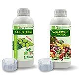 FITOKEM Olio di Neem per Piante 1L + Sapone Molle di potassio corroborante 1L + Guanti Omaggio K+G