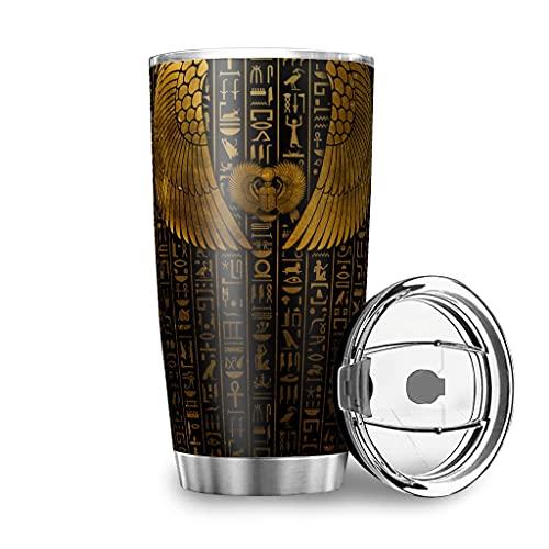 Yrgdskuvle Taza de café egipcia de doble pared de acero inoxidable al vacío, reutilizable, para llevar al aire libre, con tapa, para color blanco, 600 ml