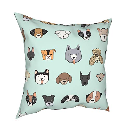 Throw Pillowcase Kissenbezüge 45x45CM Dog Face Lustige Cartoon Doodle Dekoration für Home Decor Office Sofa Holiday Bar Kaffee Hochzeit Auto