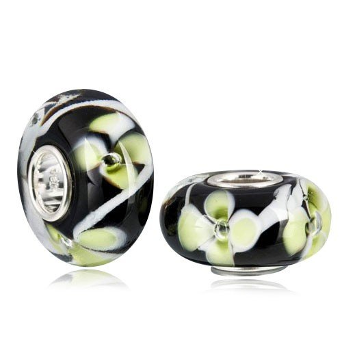 MATERIA Muranoglas Beads Perle CROCUS grün schwarz Blume für European Beads Armband/Kette #1163