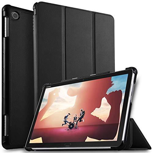 ELTD Hülle für Huawei MediaPad M5 Lite 10,Ultra Lightweight Flip mit Ständer & Eingebautem Magnet Hochwertiges PU Leder Schutzhülle für Huawei MediaPad M5 Lite 10 10.1 Zoll 2018 [Schwarz]