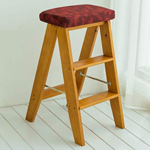 FBBSZSD Taburete de Escalera Plegable Taburete/sillas de Cocina para el hogar Interior Taburete pequeño de Madera Maciza portátil Taburete Multifuncional Antideslizante Taburete de escal