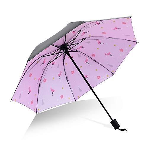 xinrongqu Flamingo Creativo Paraguas de plástico Negro Anti-UV Paraguas Femenino protección Solar Tres Veces Paraguas Personalizado Publicidad Paraguas Fuego pájaro romántico Polvo 58cm * 8k