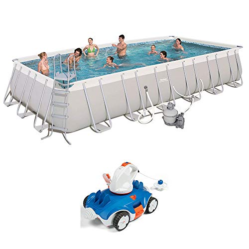 Bestway 24ft x 12ft x 52in Above Ground Swimming Pool w/Cordless Cleaning Robot -  56477E-BW + 58483E-BW