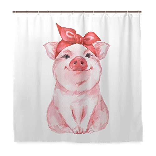 BKEOY Duschvorhang Tier Schwein, Badvorhang, schimmelresistent, wasserdicht, waschbar, Polyester, 183 x 183 cm, mit 12 Vorhanghaken