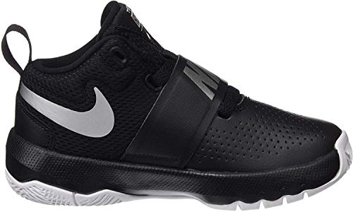 Nike Boys' Team Hustle D 8 (PS) Basketball Shoe, Black/Metallic Silver - White, 2 M US Little Kid