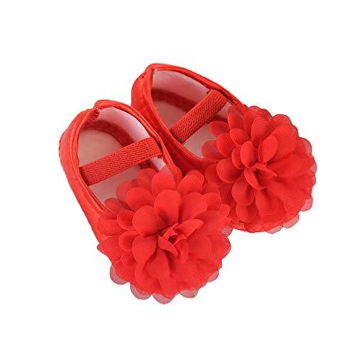 Fenical Encaje princesa lindo cuna suavemente sólo zapatos de suelo para la dimensión del bebé 11 rosa rojo 12