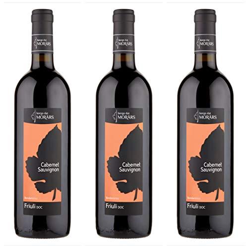 3x Cabernet Sauvignon Friuli doc, cl. 75, Borgo dai Morars, vino rosso, prodotto tipico Italia