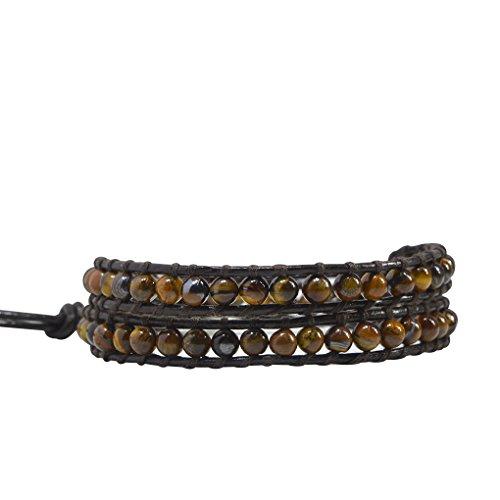 KELITCH Neue Tiger Eye Perlen Leder 2 Wraps Armbänder Howlite Charme Armbänder Handgemachte Perlen Armband Armreif