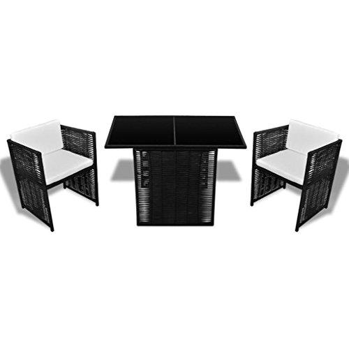Festnight mobilier de Jardin Marron Résine tressée 7 pcs 1 Table en Verre, 2 chaises, 2 Coussins de siège et 2 Coussins de Dossier
