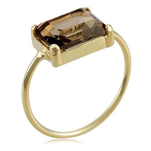 Córdoba Jewels | Anillos en Plata de Ley 925 bañada en Oro con diseño Square Swarovski Fumé Gold