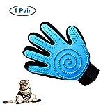 DLY Katzenbürste - Pet Bürste Handschuh丨 Katzen fellpflegehandschuh丨Neues Spiraldesign丨Hund Katze Massagehandschuh Putzhandschuhe zur Einfachen Entfernung Loser Tierhaare, (Blau,Rechte Hand)