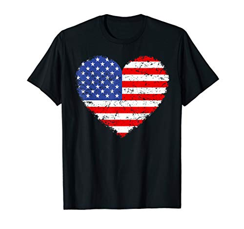 Awesome USA Flag Heart 4th July Red White Blue Stars Stripes T-Shirt