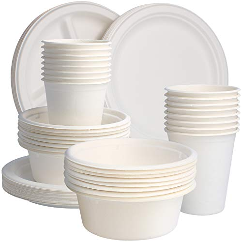 com-four Juego de vajilla de bagazo de 80 piezas - vajilla desechable ecológica hecha de caña de azúcar - tazas, platos y tazones compostables para llevar