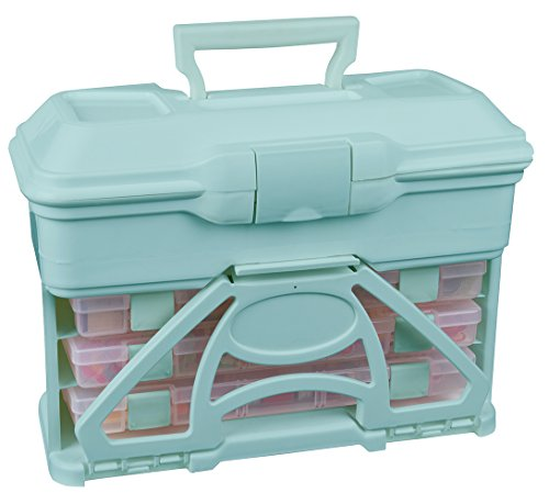 ArtBin 6994AA Solutions Cabinet, Portable Art & Craft Organizer with Handle & Drawers, [1] Plastic Storage Case, Clear/Aqua