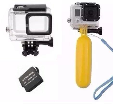 Pacote com acessórios para Gopro Hero 5 Hero 6 Hero 7 Black Caixa estanque Bateria Flutuador amarelo (3 itens)