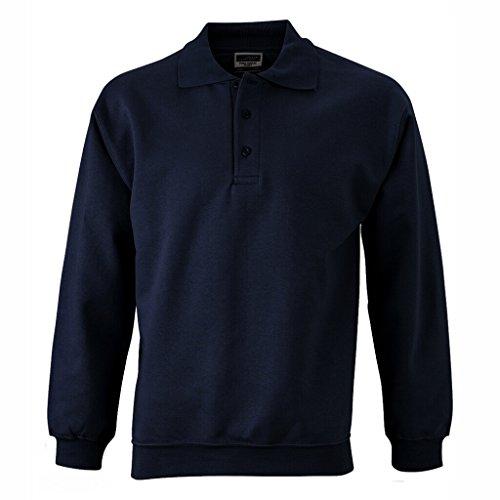 JAMES & NICHOLSON Sweat-Shirt Polo Manches Longues (XL, Marine)