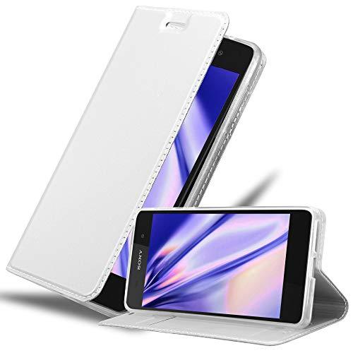 Cadorabo Hülle für Sony Xperia E5 in Classy Silber – Handyhülle mit Magnetverschluss, Standfunktion & Kartenfach – Hülle Cover Schutzhülle Etui Tasche Book Klapp Style