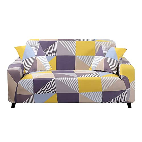 WXQY Funda de sofá de Spandex con Estampado geométrico de Esquina en Forma de L, Funda de sofá elástica, Funda de sofá Todo Incluido Antideslizante A2 1 Plaza