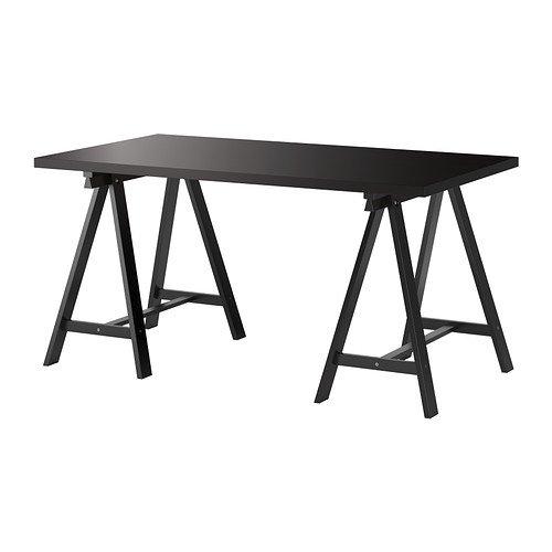 IKEA LINNMON / ODDVALD - Mesa, negro-marrón, negro - 150x75 cm