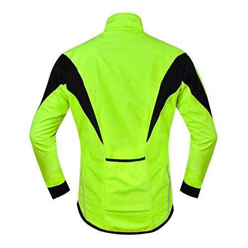Ciclismo Jerseys Chaqueta de ciclismo Invierno Polar Cálido MTB Road Bike Ropa a prueba de viento impermeable Long Jersey Windbreaker MTB Camisa Racing Bicicletas Ropa (Talla 3XL; Color: Verde)