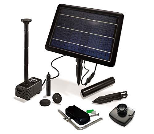 曇天に強い! GWSOLAR【 ハイブリット ソーラーポンプ】小池・お庭噴水、観賞用。6V/6.5Ah ニッケル水素内蔵蓄電池、フル充電で約5.5時間最大揚程運転、揚程調節で運転時間さらに延長可能/ 5Wソーラーパネル、接続ケーブル 5m/ 揚程調節可能な
