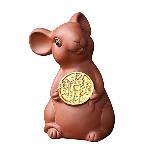 LUYIYI Violet Argile Tea Pet Rat Zodiac Craft Tea Plateau à Teahouse Décor Petite Figurines de Souris Creative Souris (Color : A)