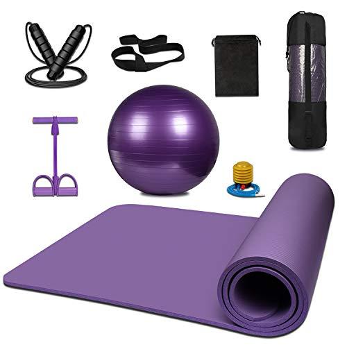 KEAFOLS Juego de colchonetas, colchoneta de Yoga con Correa para el Hombro para Transporte y Almacenamiento, Equipo de Ejercicios con Bola de Tubo de Pilates, Cuerda para Saltar, Tirador de Tobillo.