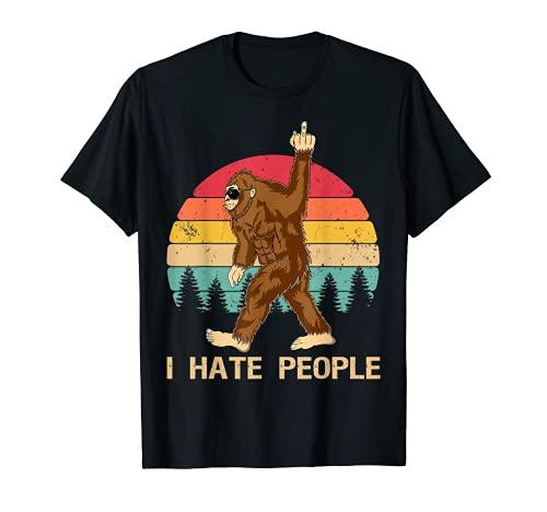 Funny Bigfoot, Odio a la gente, Dedo medio, Vintage, Retro Camiseta
