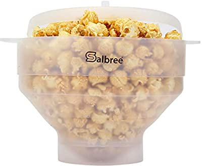 Original Salbree Microwave Popcorn Popper, Silicone Popcorn Maker, Collapsible Bowl BPA Free - 18 Colors Available (Transparent)