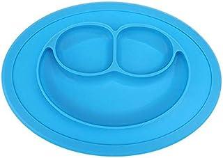 طبق لطعام الأطفال من قطعة واحدة من السيليكون على شكل وجه مبتسم يوضع على طاولة طعام الأطفال أزرق اللون