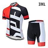 Petrichori Conjuntos de Ciclismo Uniforme de Verano Bicicleta Bicicleta de Carretera Conjunto de Jersey de Ciclismo Camisetas de MTB Ropa de Ciclismo Transpirable - Rojo 3XL