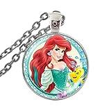 Collar con colgante de cristal para niñas y niños con diseño de Ariel de la Sirenita
