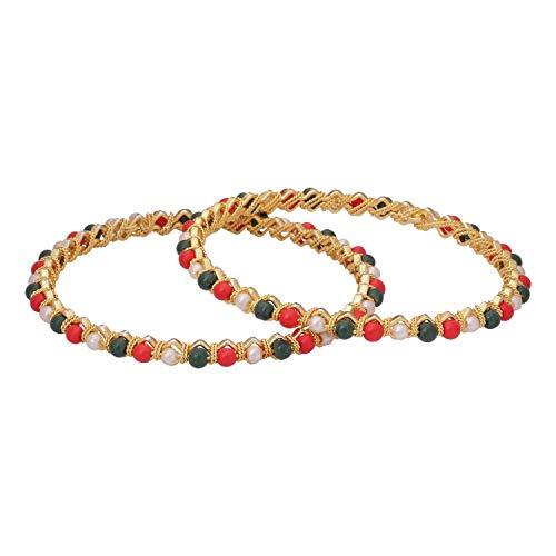 Efulgenz Indian Style Bollywood Gold Plated Faux Pearl Coral Stone Wedding Bridal Bracelet Bangle Set Jewelry Multicolor