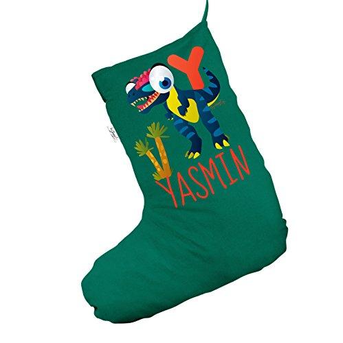 Personalizzato Baby Dinosaur lettera y Jumbo verde calza di Natale sacchetto regalo