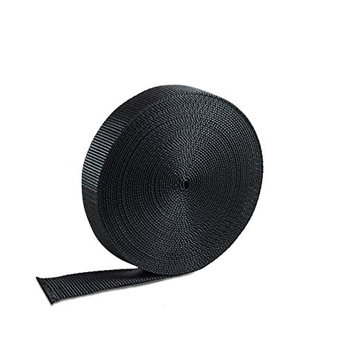 Houseables Nylon Strapping Webbing Material, 1 Inch W x 10 Yard, Black, Heavy Climbing Flat Strap, UV Resistant Fabric, Web for Bags, Backpacks, Belts, Harnesses, Slings, Collars, Tow Ropes