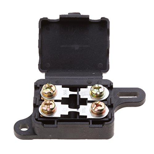 IPOTCH Caja Impermeable del Bloque del Fusebox del Perno Fusible del Sostenedor del Fusible de 2 Maneras del Ang 50a