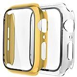 Fengyiyuda Hülle Kompatibel mit Apple Watch 38/42/40/44mm mit Anti-Kratzen TPU Panzerglas Bildschirmschutz Schutzfolie,360°Schutzhülle für iWatch Series 6/5/4/3/2/1/SE,2 Stück,Yellow Gold/Clear