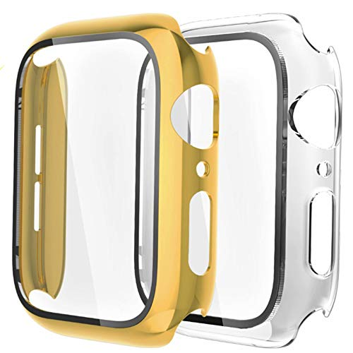 Fengyiyuda [2-Pezzi Cover Compatibile con Apple Watch Custodia 44mm con Anti-Graffio, Bubble-Free TPU Pellicola Protettiva, 360 Gradi Rugged Custodia per IWatch Series SE/6/5/4-Yellow Gold/Clear