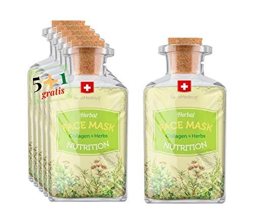 SwissMedicus New Herbal NUTRITION MASK con collagene - 5 + 1 gratis - Trattamento intensivo del viso e del decolleté, maschera naturale al collagene - 6x17 ml