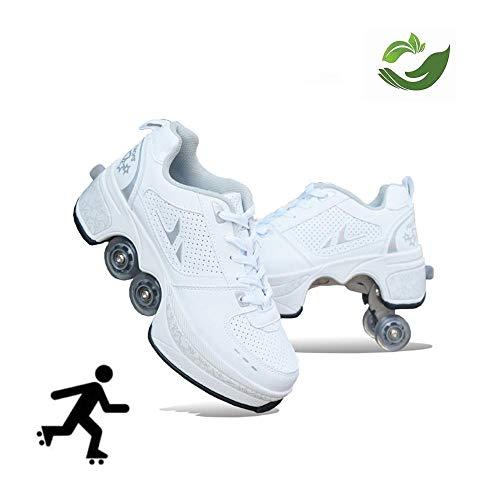 GWYX Roller Skates, Skating-Schuhe Für Männer Und Frauen Automatische Wanderschuhe Für Erwachsene Unsichtbare Riemenscheibenschuhe Skates Mit Zweireihigem Deform-Rad,White-37