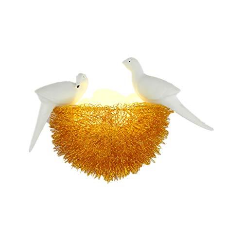 FYJK Aplique de Pared Moderno, luz de Pared LED con Forma de Nido de pájaro con Pantalla de Alambre de Aluminio, lámpara de Pared de pájaro pequeño para habitación de niños, lámpara de Noche,Oro
