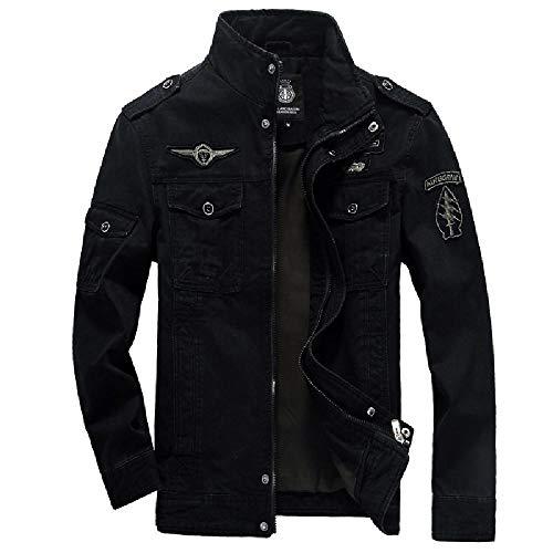 SKJJKT Chaqueta Acolchada de algodón para Hombre, diseño Europeo y Americano, para Hombre, sin Planchado, de algodón Negro Negro (XXXXXXL