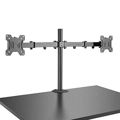 LINE beeldschermhouder, met houderstang en tafelklem, voor LCD-/LED-monitor met 30 inch beeldschermdiagonaal (76 cm), zwart LINE beeldschermhouder, duaal, met stang en bureauklem zwart