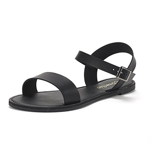 DREAM PAIRS Women's Cute Open Toes One Band Ankle Strap Flexible Summer Flat Sandals