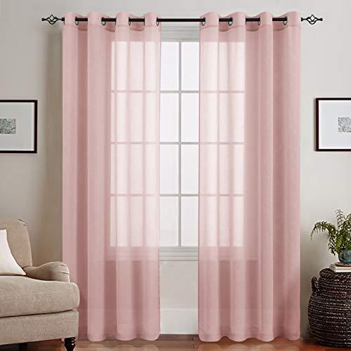 TOPICK Voile Vorhang Mit Ösen Transparent Gardine Gaze Paarig Ösenschals für Wohnzimmer Schlafzimmer 245 cm x 140 cm Rosa
